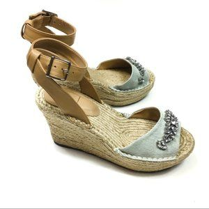 Kaari Blue Espadrille Wedge Sandals